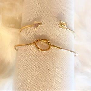Jewelry - Set of 2 trendy boho knot and arrow bracelets